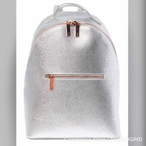 Ted Baker London Leather Backpack Silver NWT